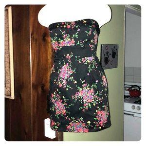 Free People black floral mini dress